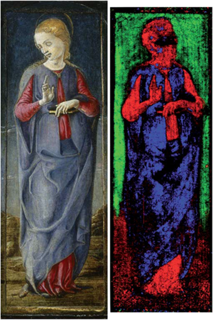 The visible image of the Virgin panel next to the false-color mapping of pigment binders. The red corresponds with egg yolk binder, the blue is consistent with a glue binder, and the green maps the areas of Azurite in a glue binder.