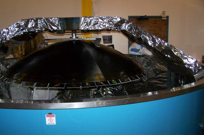AEHF 1.6m composite reflector, installed in 3.3m chamber prior to coating.