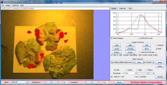 Spectral imaging data captured by the SOC710-VP highlights areas of Merlot leaves suffering from fungal infection. Viewed using Surface Optics hyperspectral processing and analysis software.